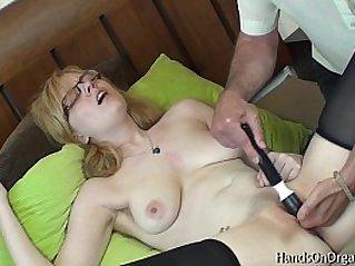 Horny Blonde Jessica Lo Gets Help Masturbating to Orgasm