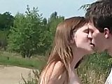 Busty brunette teen cross gets pussy nailed outdoors