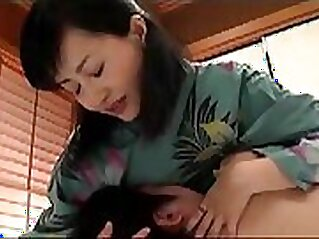 Chick Oiled licks pussy of Japanese mom in yoga