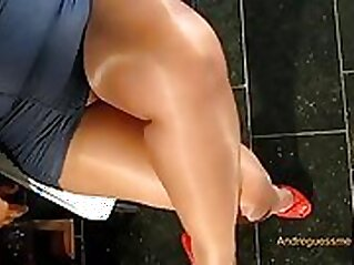 Bitchboy Divinity shows off his feet in ripped pantyhose and then eats pussy