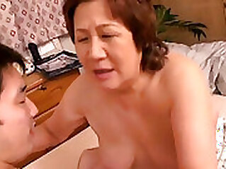 Asian granny by the river with a big boner